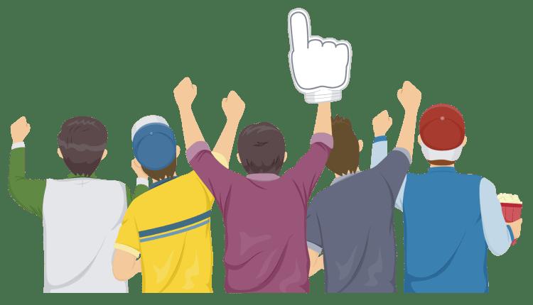 Fantasy football league cheering