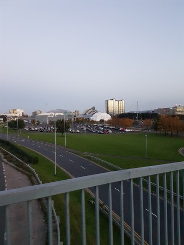 The view of the SSE Hydro from the middle of the highway overpass