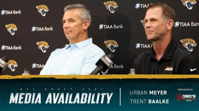 Urban Meyer and Trent Baalke