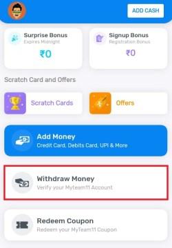 MyTeam11 withdraw money