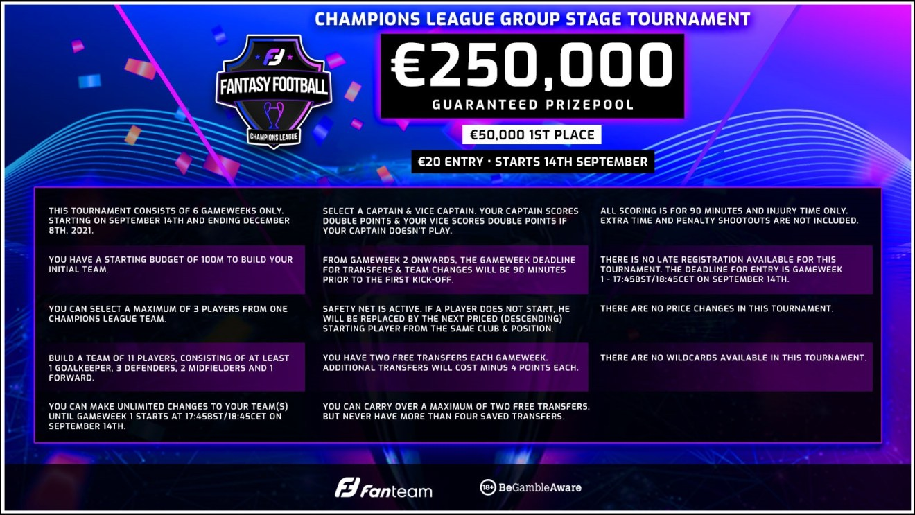fanteam champions league fantasy football scoring and rules