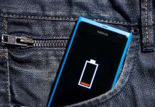 Phone with low battery in pants pocket
