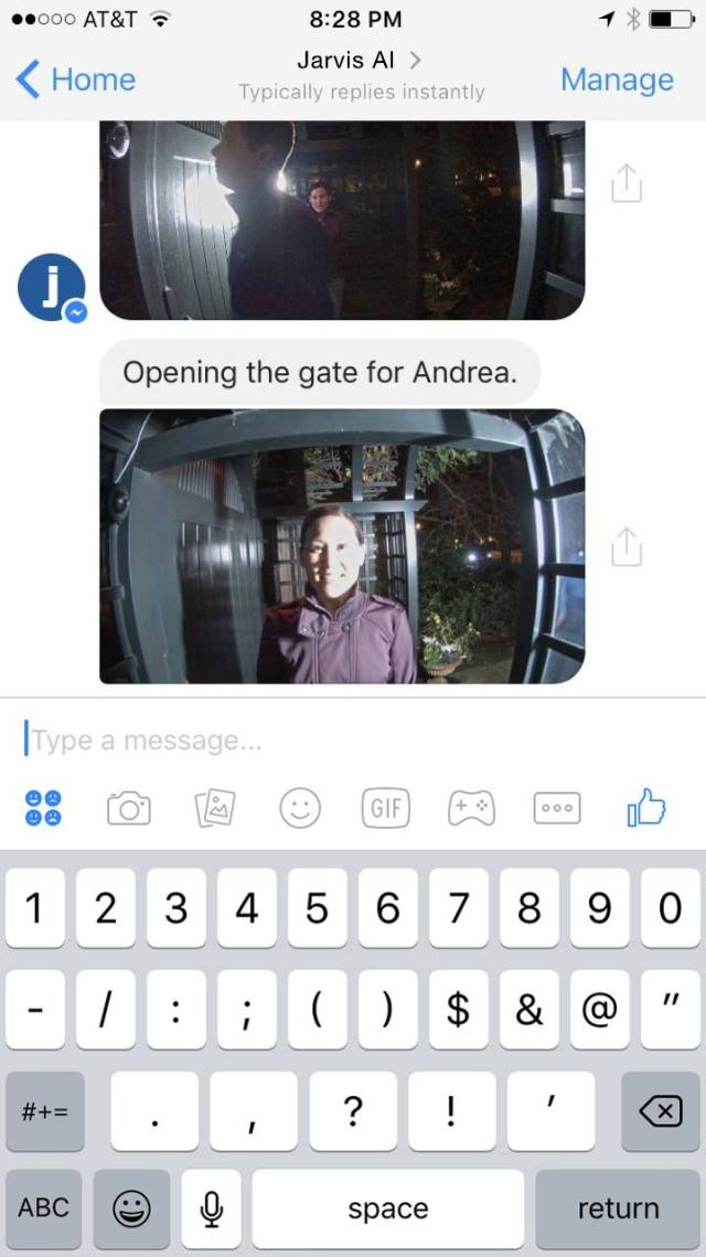 Jarvis chat bot opening gate