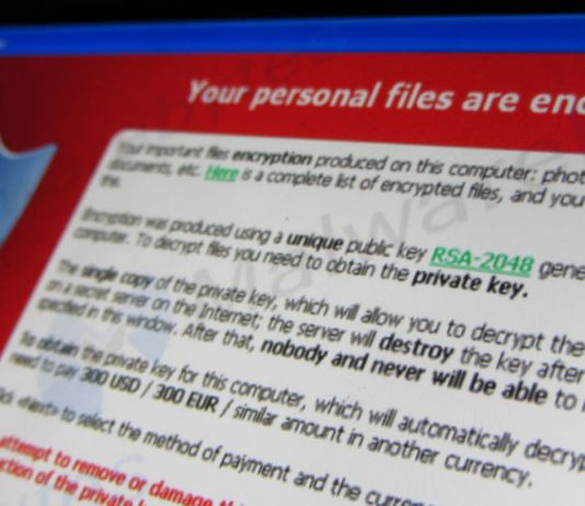 screenshot of ransomware
