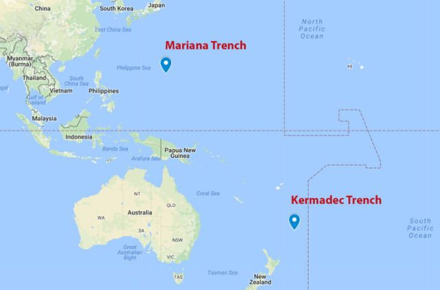 Mariana Trench on Map