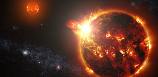 a binary consisting of two red dwarf stars shown here in an artist's rendering, unleashed a series of powerful flares seen by NASA's Swift