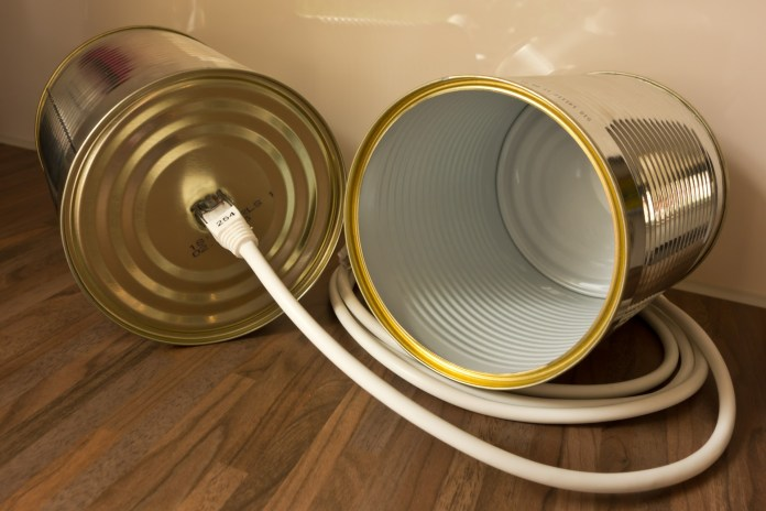 tin cans connected by a data cable