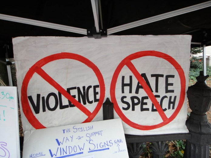 no violence, no hate speech sign