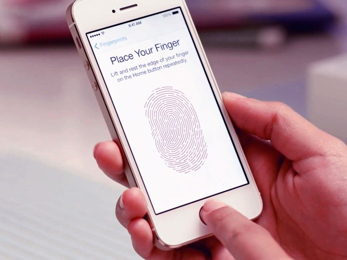 iPhone with the Touch ID setup displayed