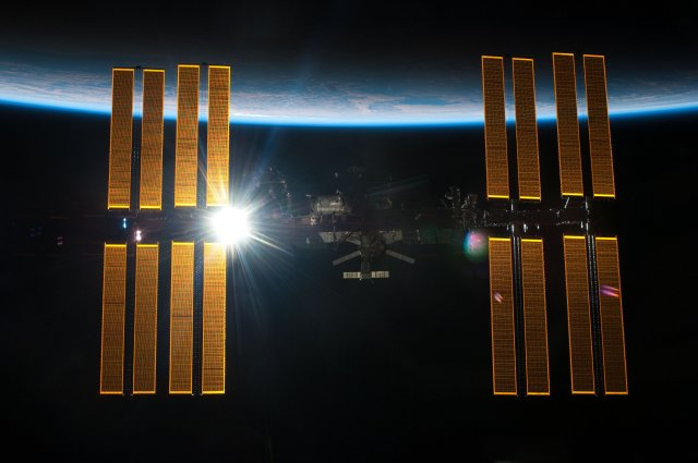 The International Space Station (ISS) in its orbit around Earth