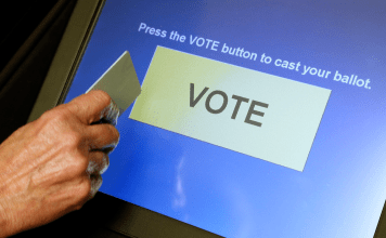DRE voting machine at the final vote button