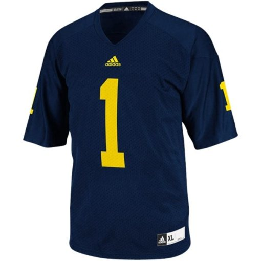 Adidas NCAA Michigan Wolverines #1 Football Premier Team Color Jersey Front