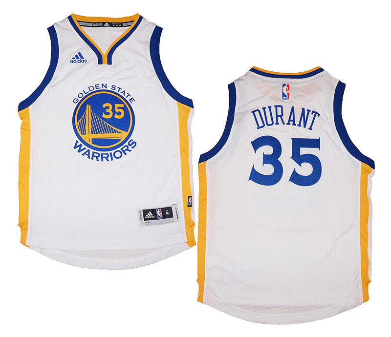 first rate f9a85 7a819 Youth Kevin Durant #35 Golden State Warriors NBA Adidas White Swingman  Jersey | Fanwears
