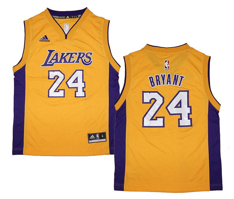 quality design 1cdce 3bfec Youth Kobe Bryant #24 Los Angeles Lakers NBA Adidas Gold Replica Jersey |  Fanwears