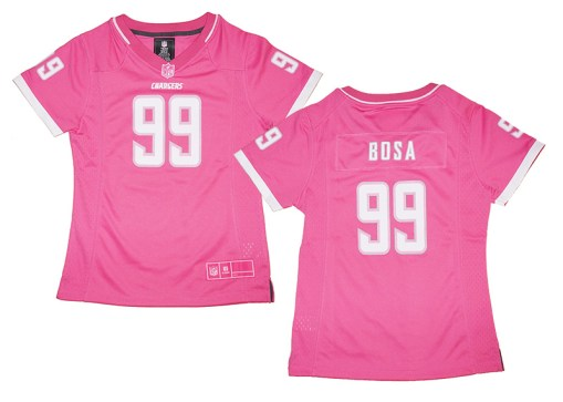 low priced 3fc9d 995d3 Girls Youth Joey Bosa #99 Los Angeles Chargers Pink Bubble ...