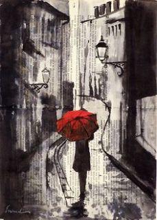 red umbrella art
