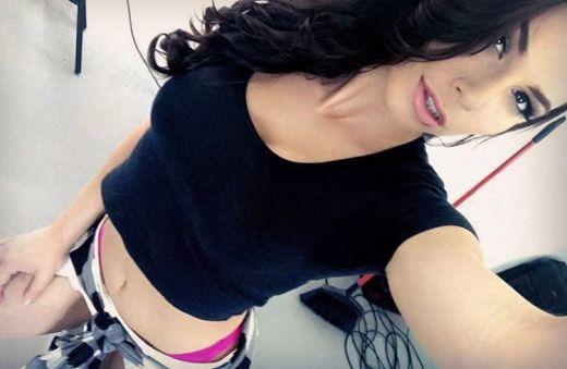 Dark hair beauty pink panties