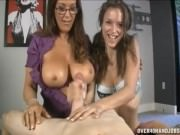 Malena Morgan performs a duo handjob