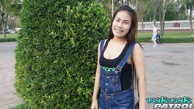 Random cute Asian teen picked up outdoors