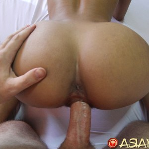 Smooth naked ass Asian gets wild fuck from behind