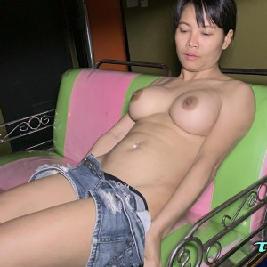 Topless Asian Big Fake Tits pulling down shorts in backs eat