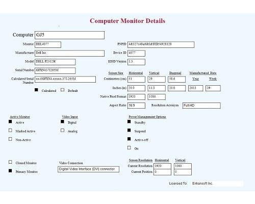 Enhansoft Computer Monitor Details