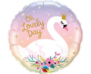 "Round Swan Balloon ""Oh Lovely Day"""