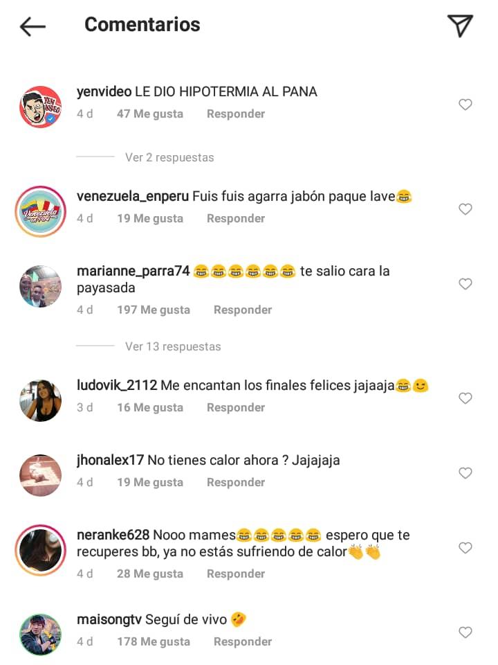 Comentarios en el instagram de el negrito caliente 2