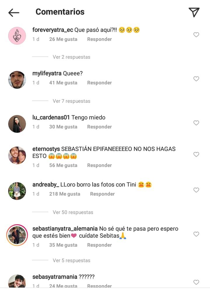 comentarios en el instagram de sebastian yatra 2