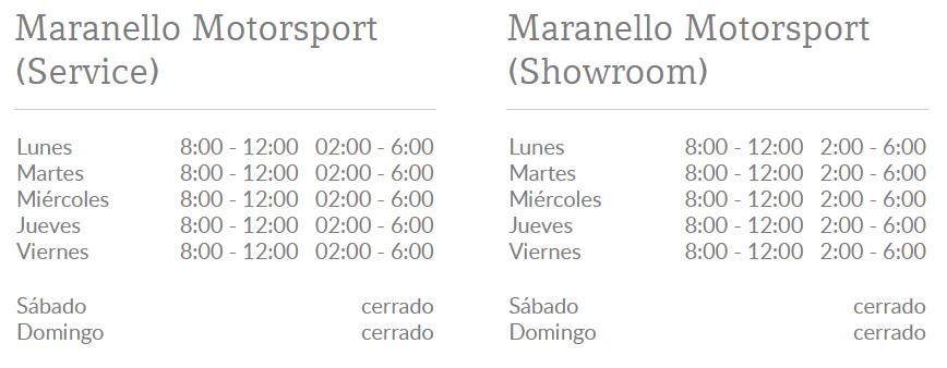 horarios del concesionario de Ferrari en Caracas