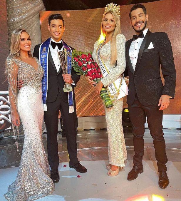 Ana Karina Jardim y Alejandro Carreño con los ganadores del Miss y Míster Supranational Venezuela 2021