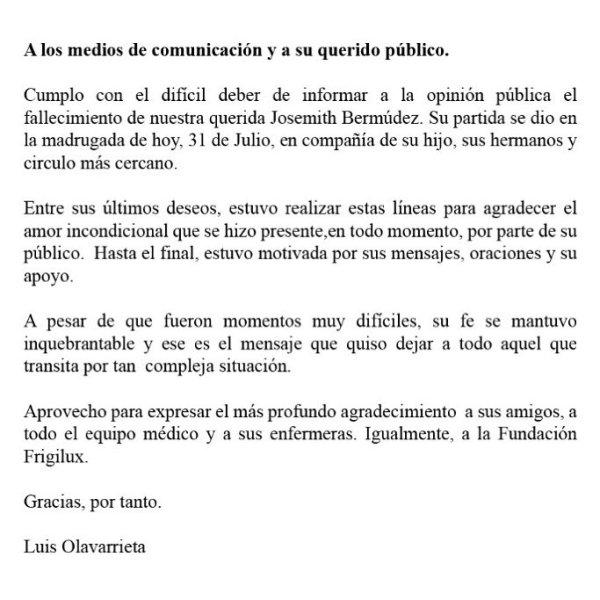 mensaje del fallecimiento de Josemith Bermudez por Luis Olavarrieta