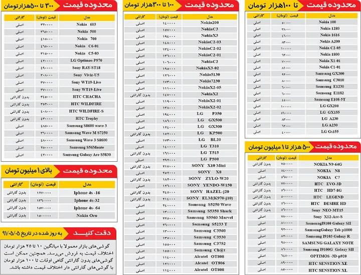 قیمت گوشی سامسونگ شیراز
