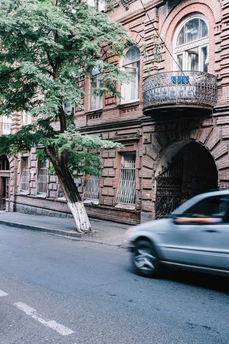 Driving car in Tbilisi, Georgia