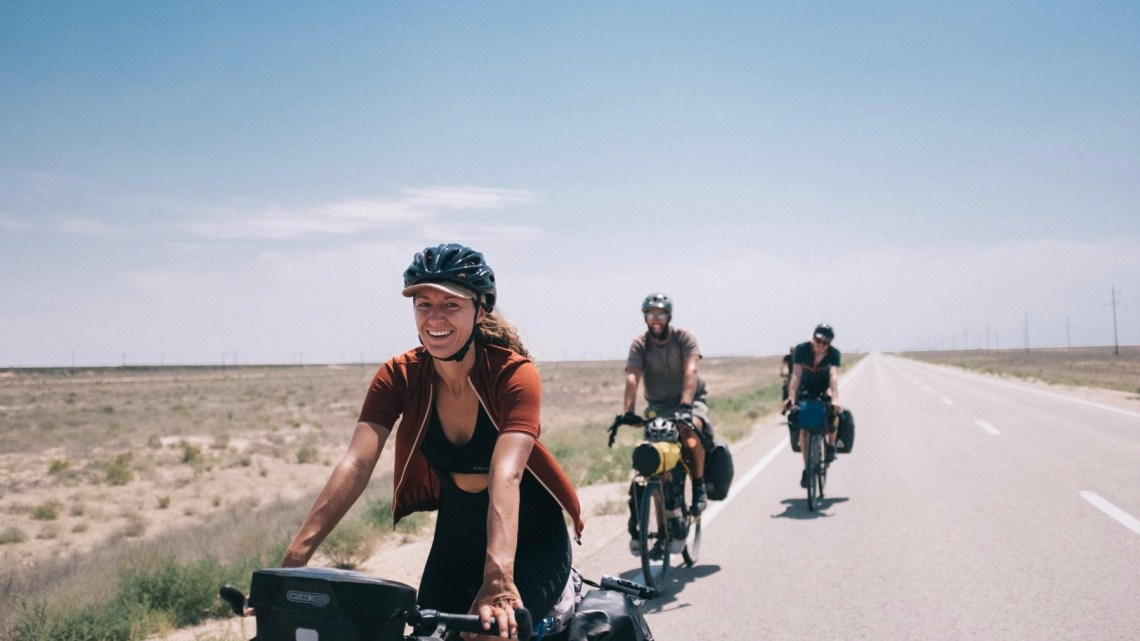 Sabina cycling in the desert in Kazakhstan to Aktau