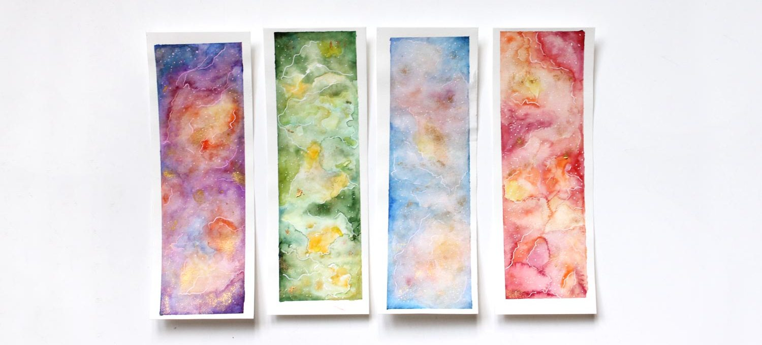 DIY do it youself lesezeichen aquarell bookmark galaxy