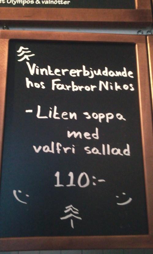 Vintererbjudande hos Farbror Nikos: soppa & sallad