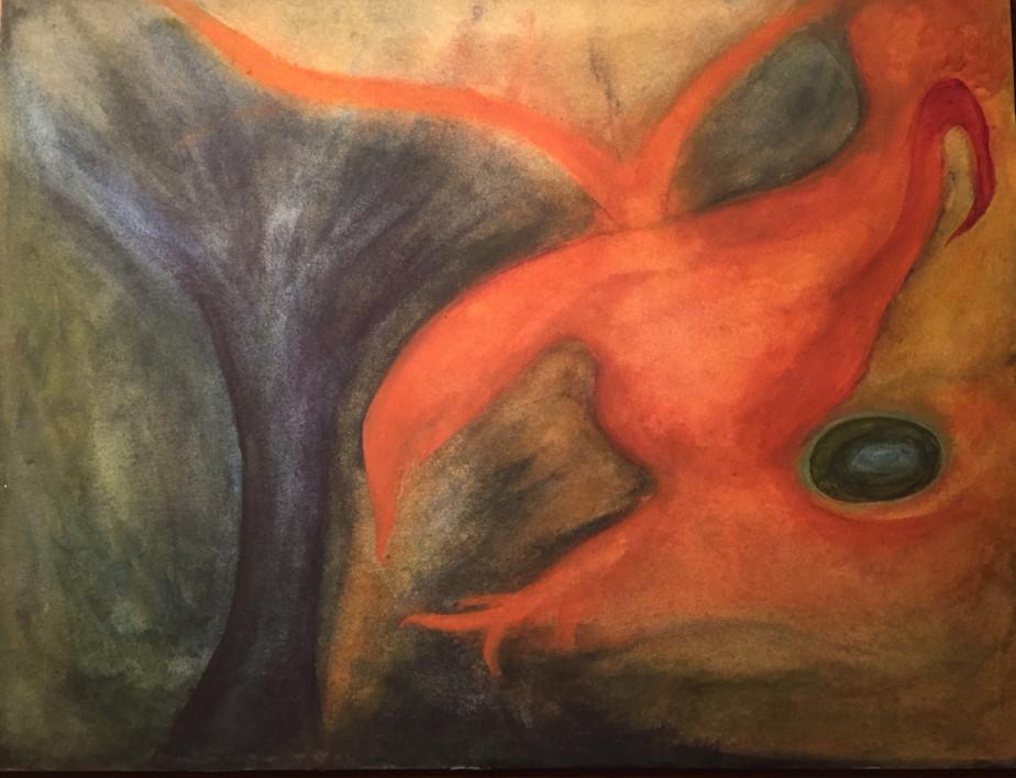 Tavla av Eva Dahlberg - utställning på Farbor Nikos café & galleri