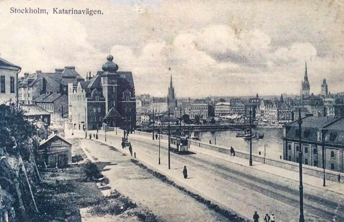 Historisk bild över Katarinavägen, troligtvis 1919