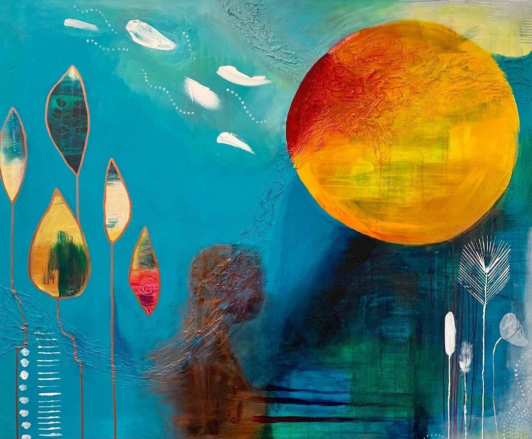Annie Helins tavla Life i konstutställningen på Farbror Nikos på Söder