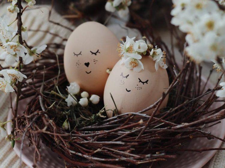 creative eggs in nest on table