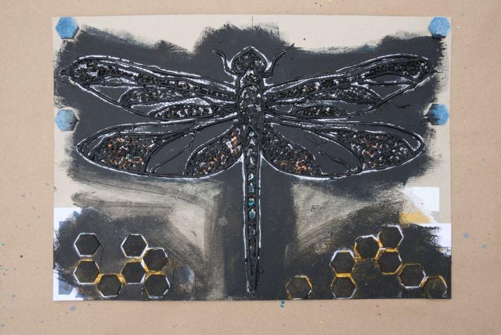 Konturen Libelle Collagrafie