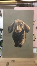 kleiner Dackel, Acryl auf Holz ca 20x30cm little dachshund