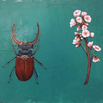 Hirschkäfer Acryl auf Holz Stag-beetle