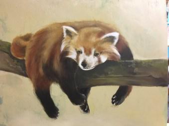 Roter Panda, Acryl auf Holz ca 30x40cm Red panda