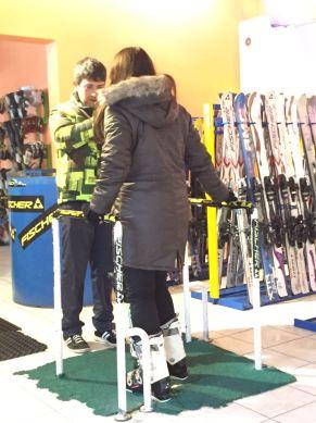 Putting the ski boots