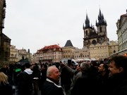 packed of tourists in Old town Square