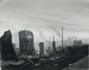 Ruins of Citizen National Bank looking northeast from N.P. Avenue after the Fargo, N.D. fire of 1893