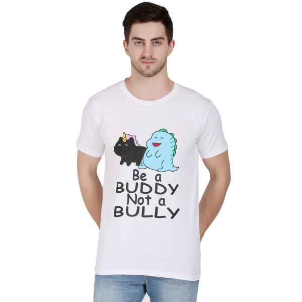 Printed Men Round Neck White T-Shirt