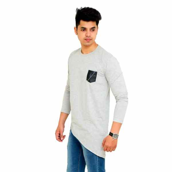Color Block Men Round Neck Grey T-Shirt - Faricon